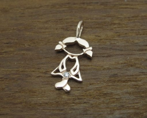Rose Gold Girl Baby pendant, Rose Gold Child Necklace