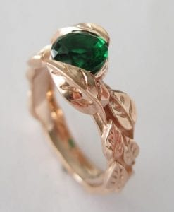 Rose Gold Leaf Engagement Ring, Green Stone Leaf Engagement Ring