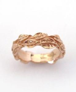 Rose Gold Leaf Ring, Gold Leaf Wedding band
