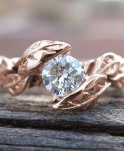 Rose Gold Moissonite Engagement Ring, Leaves Moissanite Engagement Ring