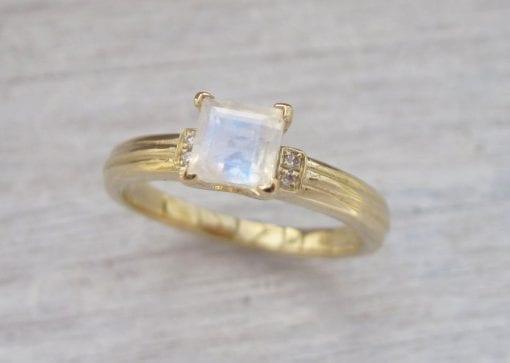 Rose Gold Moonstone Vintage Style Engagement Ring, Rose Gold Antique Moonstone Ring