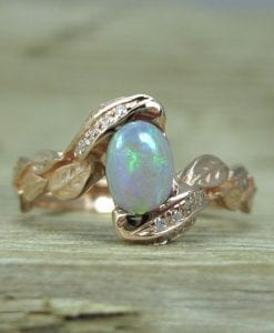 Rose Gold Opal Engagement Ring, Rose Gold Leaf Engagement Ring With Opal