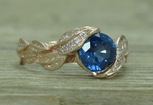 Rose Gold Sapphire Engagement Ring, Leaf natural Sapphire Engagement Ring