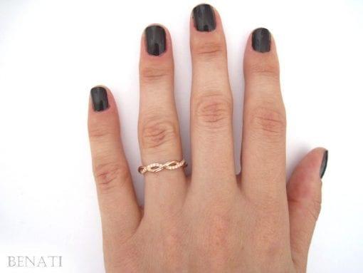 Rose Gold Wedding Ring, Diamond Infinity Wedding Ring