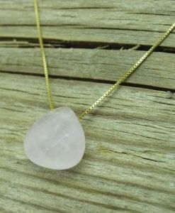 Rose Quartz Pear Cut Gold Necklace, Rose Quartz Necklace