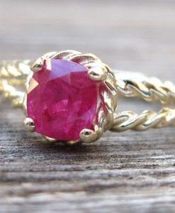 Ruby Engagement Ring, Cushion Ruby Braided