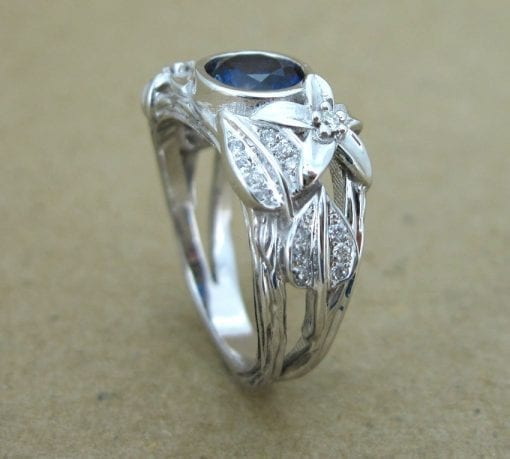 Sapphire Engagement Ring, Leaf Engagement Ring