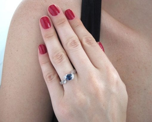 Sapphire Engagement Ring, White gold Leaf Natural Sapphire Engagement Ring