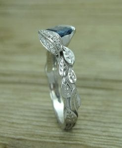 Sapphire Leaf Engagement Ring, Sapphire Engagement Ring