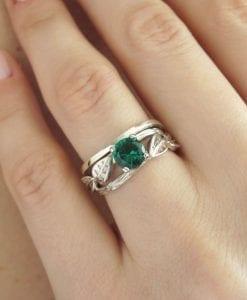 Set Wedding Rings, Bridal Set Leaf Twig Ring