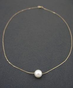 Single pearl gold necklace, Pearl gold necklace