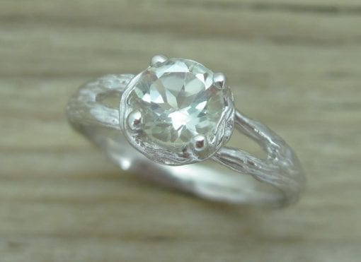 Twig Green Amethyst Engagement Ring, Natural Amethyst Engagement Ring
