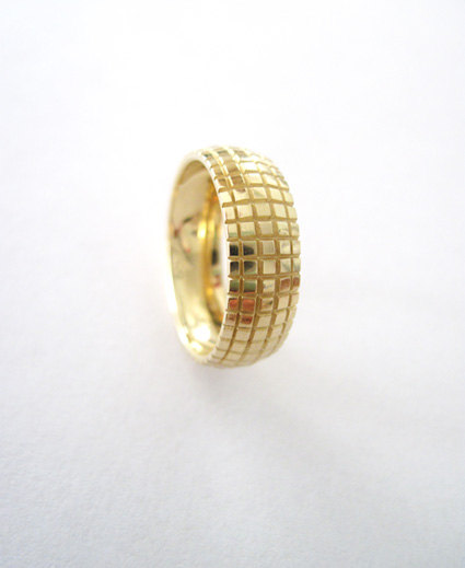 Ultra modern faceted gold wedding ring - great wedding band - crafted in solid 14k yellow gold - new designer ring - contemporary ring