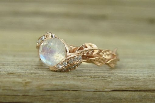 Unique Engagement Ring, Leaf Ring With Moonstone
