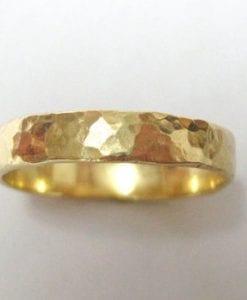 hammered yellow gold wedding Band