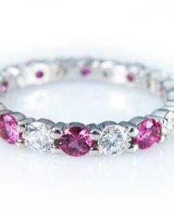 White Gold Diamond Eternity Band, Pink Sapphire Diamond Eternity Ring