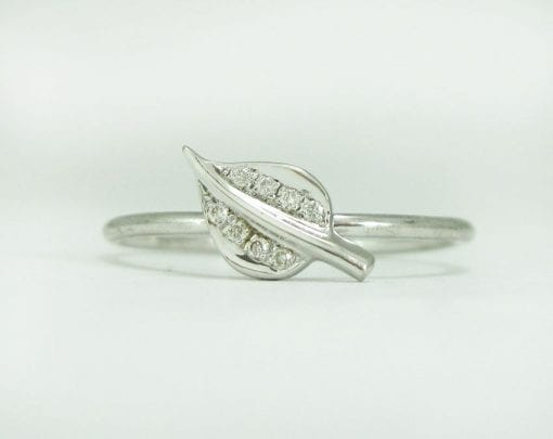 White gold leaf stacking ring with diamonds, Leaves gold ring with diamonds