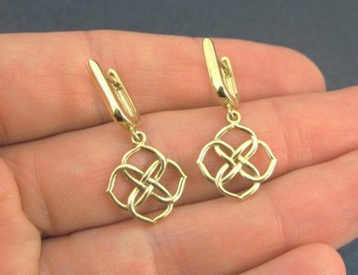Yellow gold infinity knot earrings, Gold knot dangle earrings