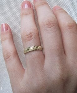 Yellow gold wedding ring, Faceted gold wedding band