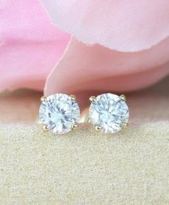 1.50 Carat Diamond Earrings, Solid Gold Stud Earrings