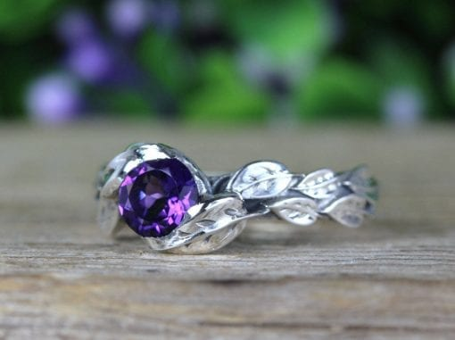 Amethyst leaf ring, amethyst gemstone ring In silver
