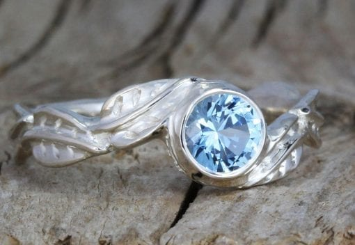 Aquamarine White Gold leaves Ring, Antique Floral Nature Engagement Ring