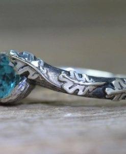 Blue Topaz Leaf Ring, Oak leaves London Blue Topaz Boho Ring