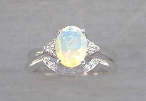 Bridel Set Opal Engagement Ring, Antique Engagement Opal Ring Wedding Set
