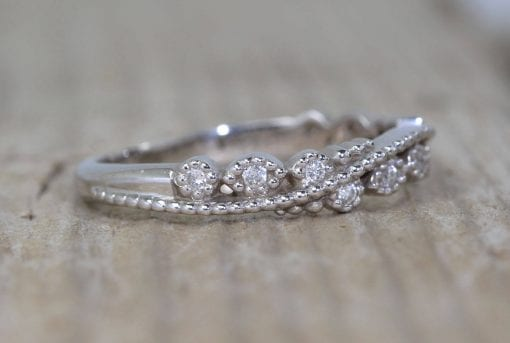 Diamond Filigree Wedding Band, Milgrain Wedding Ring