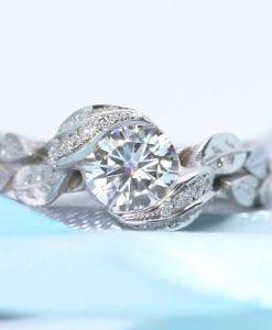 Diamond leaf engagement ring, Diamond leaves engagement ring