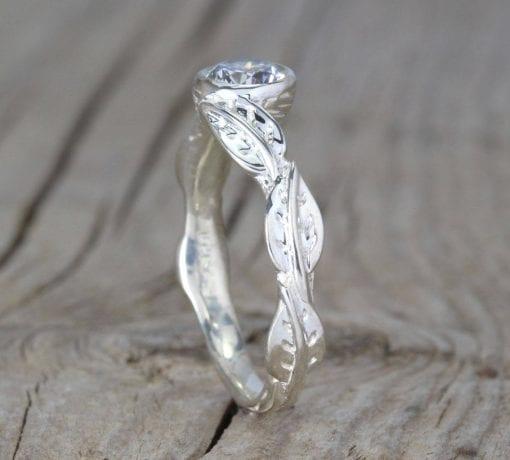 Diamond leaves engagement ring, Bezel Diamond vintage ring