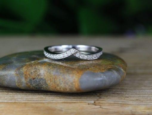 Double  Chevron Diamond Ring, V Shape Diamond Infinity Ring