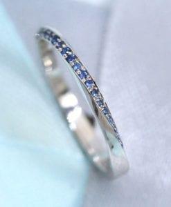 Eternity Band, White Gold Eternity Sapphire Wedding Band 2mm
