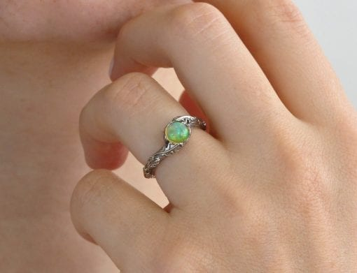 Fire Opal Leaf Ring, Opal promise Leaves Ring