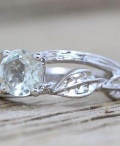 Green Amethyst Twig Engagement Ring, Bark Engagement Ring