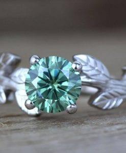 Green Moissanite Engagement Ring, Vintage Leaf Engagement Ring