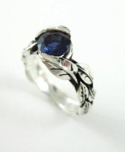 Leaf Ring With Center Iolite Violet Blue Purplish Gemstone In Silver, Leaves Ring
