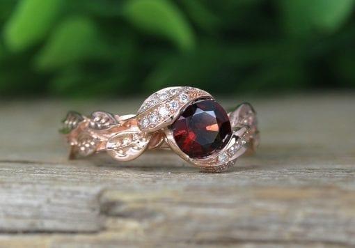 Leaf Rose Gold Garnet ring, Garnet Leaf Engagement Ring