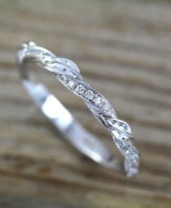 Leaf twig diamond wedding band, Mobius Wedding ring