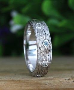 Mens Wedding Rings, Twig White Gold Rough Ring