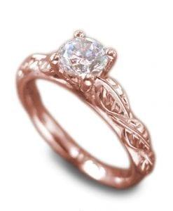 Moissanite Nature Engagement Ring, Rose gold nature engagement ring
