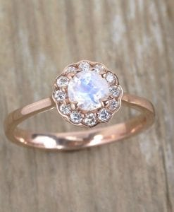 Moonstone Engagement Ring, Moonstone Antique Rose Gold Ring