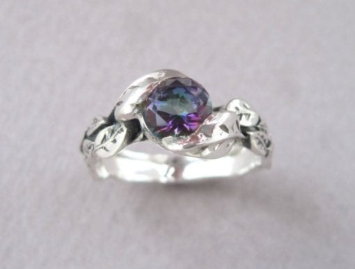 Mystic Topaz Ring, Round Cut leaves Engagement Ring