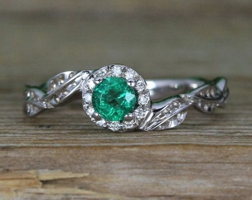 Natural Emerald Nature Inspired solid gold Halo Engagement Ring