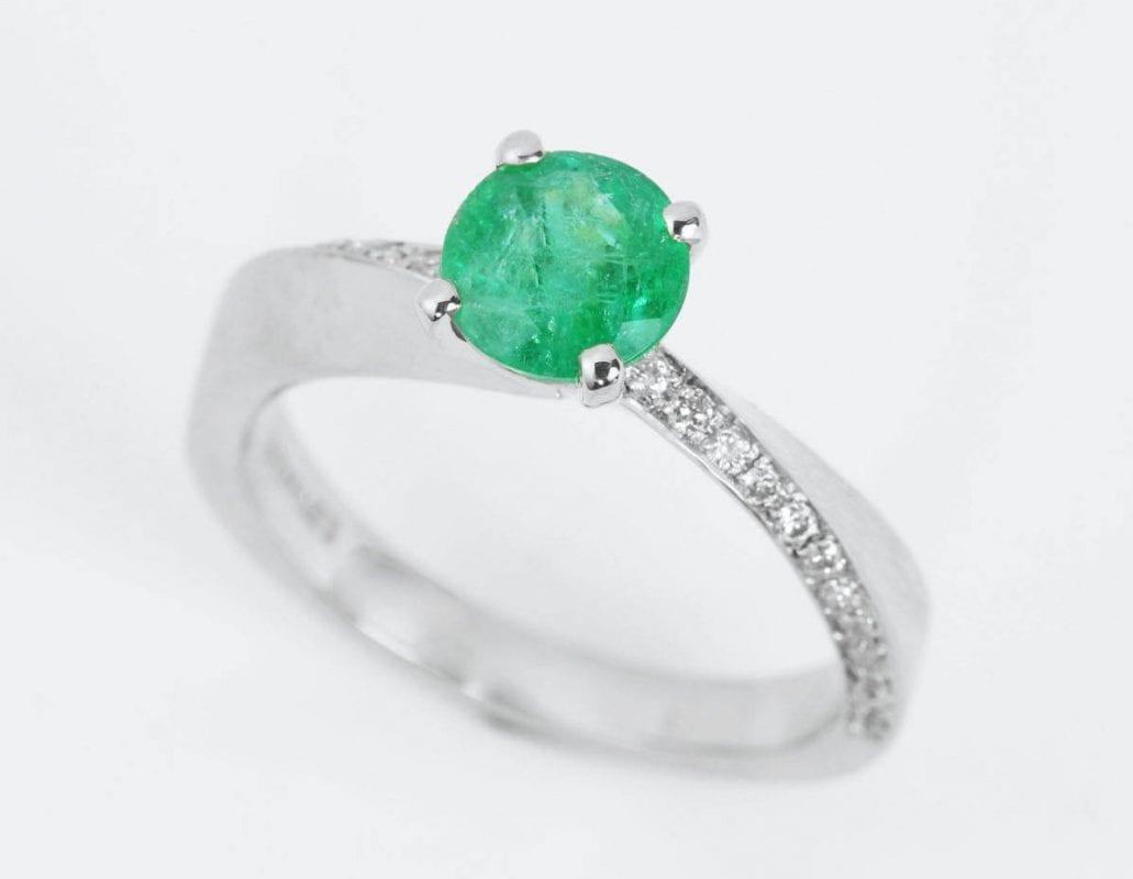 Natural emerald ring, Mobius engagement ring
