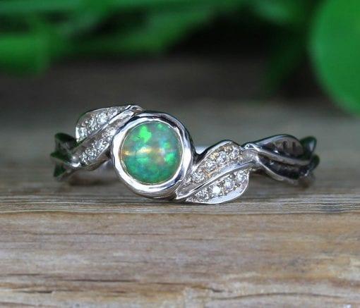 Natural Opal Leaf Opal Engagement Ring, Nature Inspired Antique Vintage Promise Ring