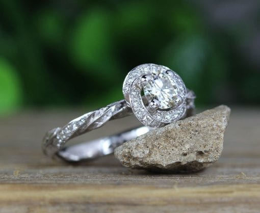 Nature Inspired Unique Diamond Halo Ring, Leaves And Flower Engagement Ring