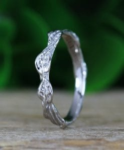 Nature Vine Wedding Band, Curved Leaves Twig Ring