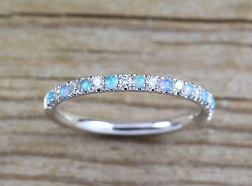 Opal and Diamond Eternity Band, Opal Ring