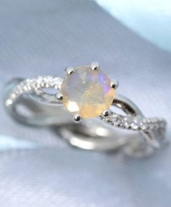 Opal Infinity Knot Diamond Engagement Ring, Opal Diamond Engagement Ring